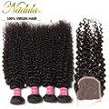 4 Bundles Peruvian Virgin Hair Curly Weave With Closure 7A Peruvian Curly Human Hair With Closure Nadula Hair Weave Closures