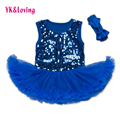 Sequined Tutu Dress Infant Toddler Baby Girl Summer Cotton Ruffle Lace Bodysuit Dresses For 0-2Years Newborn Sets Girl Clothing