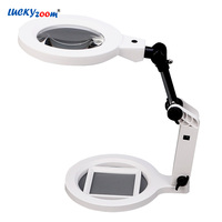 Luckyzoom Foldable Desktop Magnifying Glass 22 LED Illuminated Magnifier Loupe 2X 5X Charge Magnifier With Scale Repair Lupa