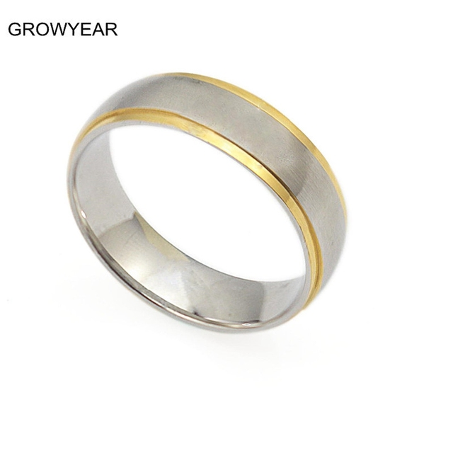 Casual Simple Matt Silver Gold Color Two Tone Stainless Steel Wedding Ring Women Men Fashion Jewelry