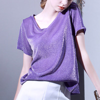 Europe New 2018 Summer Women Fashion Sexy V Neck Short Sleeve Bright SILK Loose T Shirt Tops Female Oversize Purple Shirts Tees