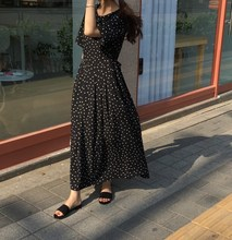 Vintage Black Polka Dot Dress Slim Waist Bandage Maxi Dress O-Neck Short Sleeve Lace Up Dress polka dot zip up side dress
