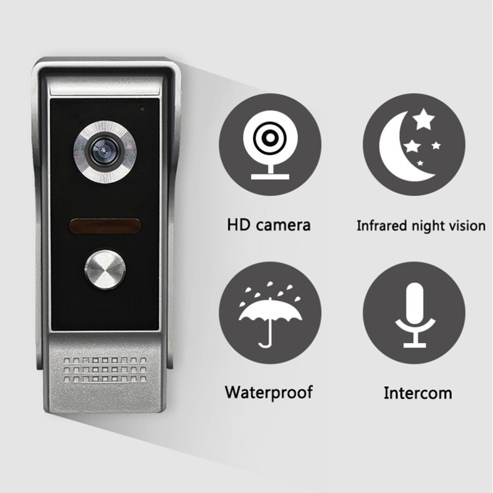 7'' TFT LCD Wired Video Door Phone System Visual Intercom Doorbell 800x480 Indoor Monitor 700TVL Outdoor Infrared Camera wired video door phone intercom doorbell system 7 tft lcd monitor screen with ir coms outdoor camera video door bell