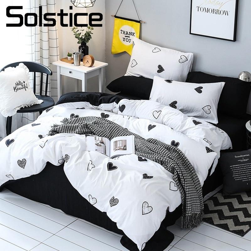 Solstice Home Textile Heart White Duvet Cover Black Bed Sheet Pillowcase Girl Kid Adult Boy Bedding Set King Queen Full Bedlinen