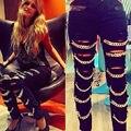 Sexy Hot Womens Cadeias Do Punk Rasgado Slim Fit Skinny Jeans Calças Leggings
