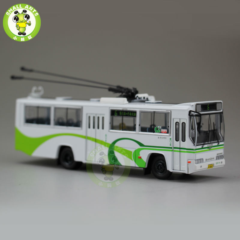 1:76 Scale ShangHai Brand Trolleybus Bus NO.6 Diecast Bus Car Model 1 43 ankai bus sightseeing tour of london bigbus big bus diecast model bus open top