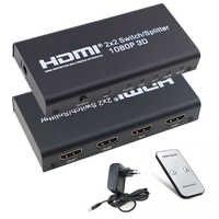 2X2 commutateur de répartiteur HDMI 2 en 2 sorties boîtier de commutation HDMI avec télécommande IR et prise en charge de l'adaptateur d'alimentation 3D 1080P pour HDTV PC PS3/PS4