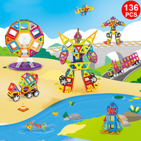 136PCS Magnetic Building Blocks Magnet Designer Educational Construction Toys For Kids Gift