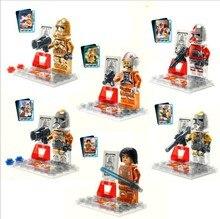 Wholesale New Arrival Star Wars 7 Racial War Clone 10sets Minifigure Transparent Crystal Luminous Star War Classic Building Toys
