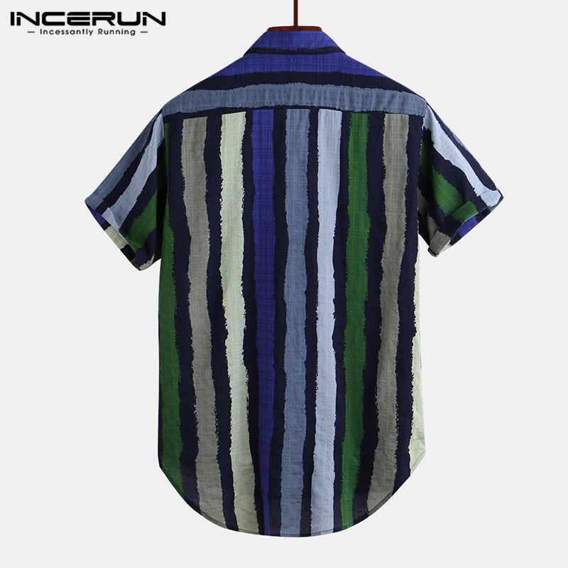 INCERUN Mens Shirt Striped Short Sleeve Streetwear Vintage Blouse Breathable Casual Hawaiian Shirts Camisa Masculina 2020 S-5XL