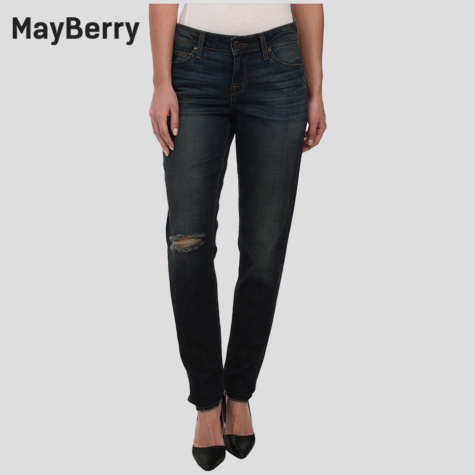 MayBerry Jeans Women's  Jeans boyfriend relaxed Mid Rise ripped jeans premium Denim collection 88166