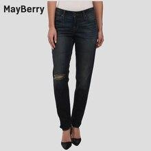Мейберри Джинсы женские Джинсы бойфренд расслабленным Середина Повышение рваные джинсы premium Джинсовой коллекции 88166
