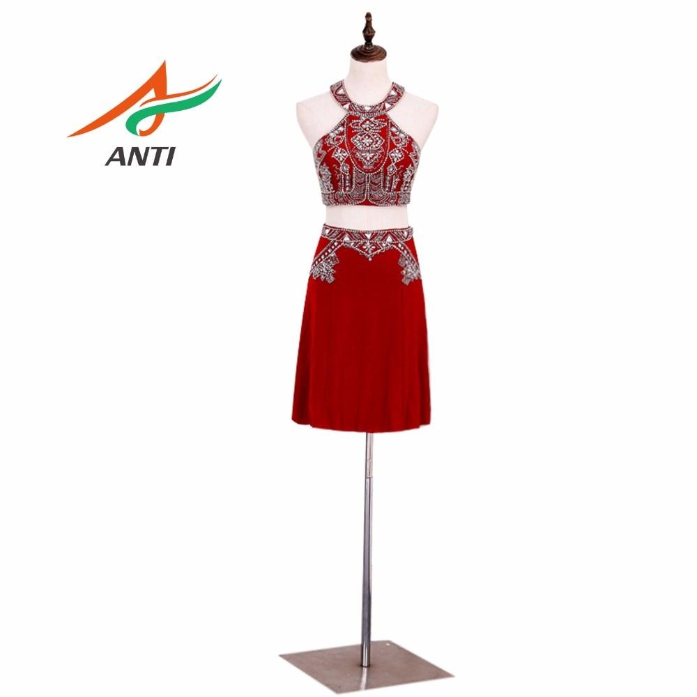 ANTI Fashion Red 2 piece   Cocktail     Dresses   Romantic Chiffon Crystal   dress   short Glisten Rhinestone Knee-Length Homecoming   Dress