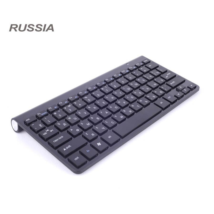 Russische brief Ultra slim 2,4G Wireless Tastatur für MACBOOK, LAPTOP, TV BOX Computer PC, Smart TV mit USB dongle
