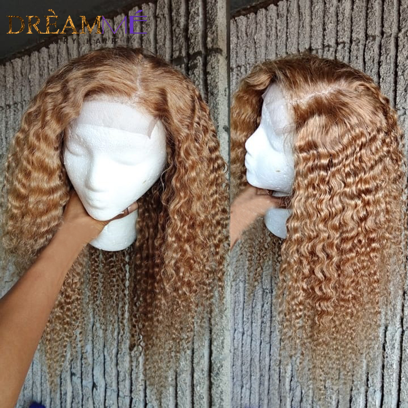 Image 5 - Honey Blonde Short Curly Human Hair Wig 13X6 Deep Part Lace Front Wig With Baby Hair Preplucked Glueless Remy Hair Colored Wigs-in Human Hair Lace Wigs from Hair Extensions & Wigs