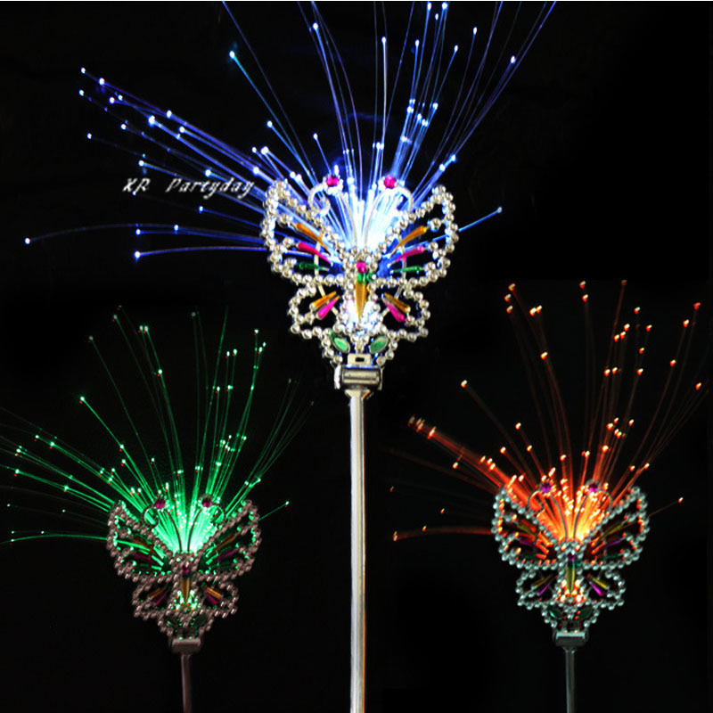 LED Flashing Fiber Butterfly Sticks Fairy Princess Magic Wand Crown Props Glow Party Christmas Navidad led
