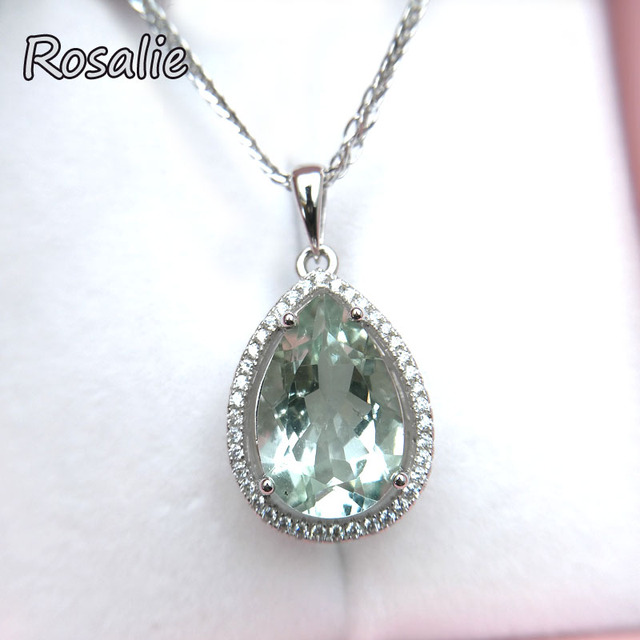 Rosalie,water drop 6.5ct Natural stone Green amethyst gemstone Pendant 925 sterling silver for women birthday anniversary gift