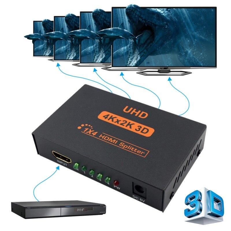 3D 4 k * 2 k Full HD 1080 p 1X4 HDMI Splitter Adapter 4 Porte Hub Ripetitore amplificare Converter per HDTV con UE STATI UNITI REGNO UNITO AU Adattatore di Alimentazione