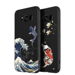 Image 5 - 偉大なエンボス電話ケースのための samsung galaxy note 9 s9 プラスカバー神奈川波鯉クレーン 3D 巨大なリリーフケース