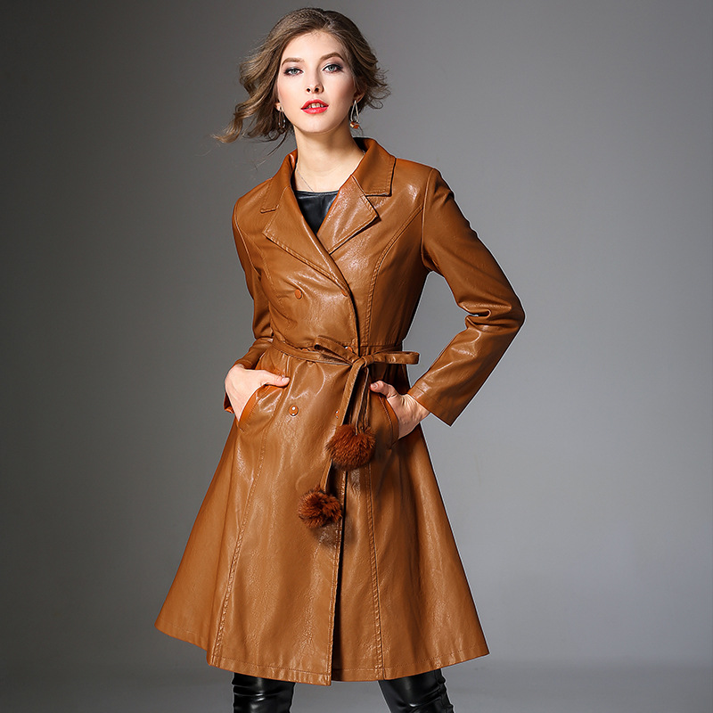 Women Suede   Trench   Coat 2018 New Fashion Autumn Winter Black PU Leather Coat Slim Long Leather   Trench   Coats for Female M-3XL