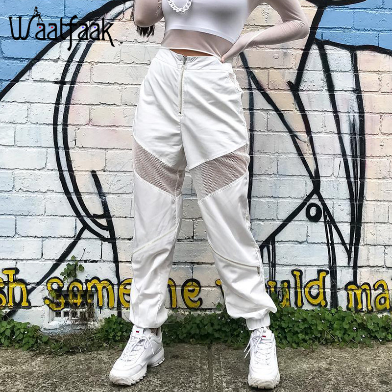 Waatfaak High Waisted Trousers Women White Loose Harem Pants Hollow Out Patchwork Mesh Zipper Sweatpants Women Casual Joggers