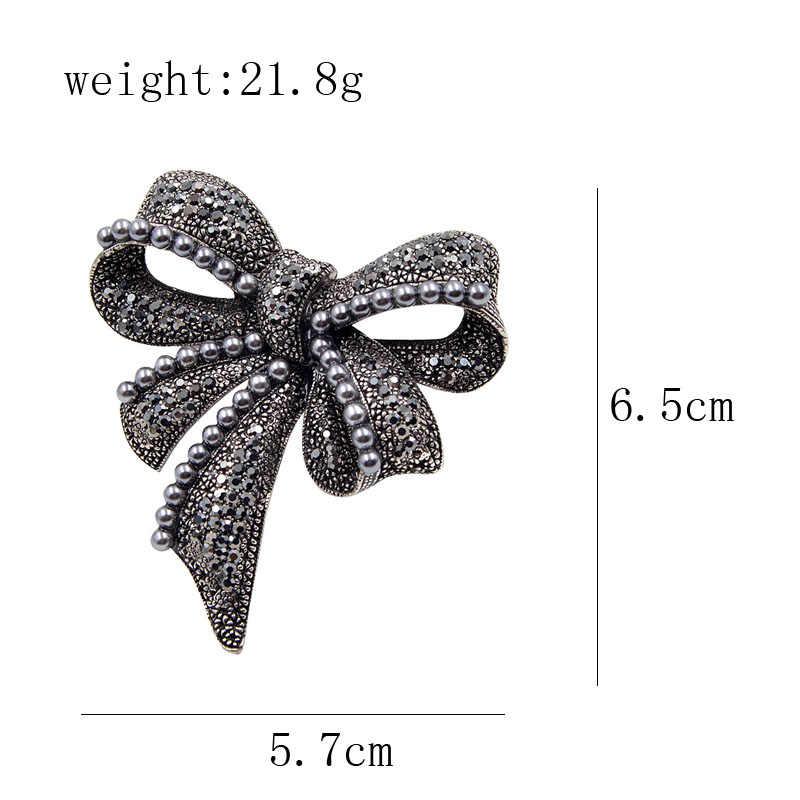 Cindy Xiang Hitam Baru Busur Bros untuk Wanita Berlian Imitasi dan Mutiara Bros Pin Vintage Bros Fashion Perhiasan Elegan Aksesoris