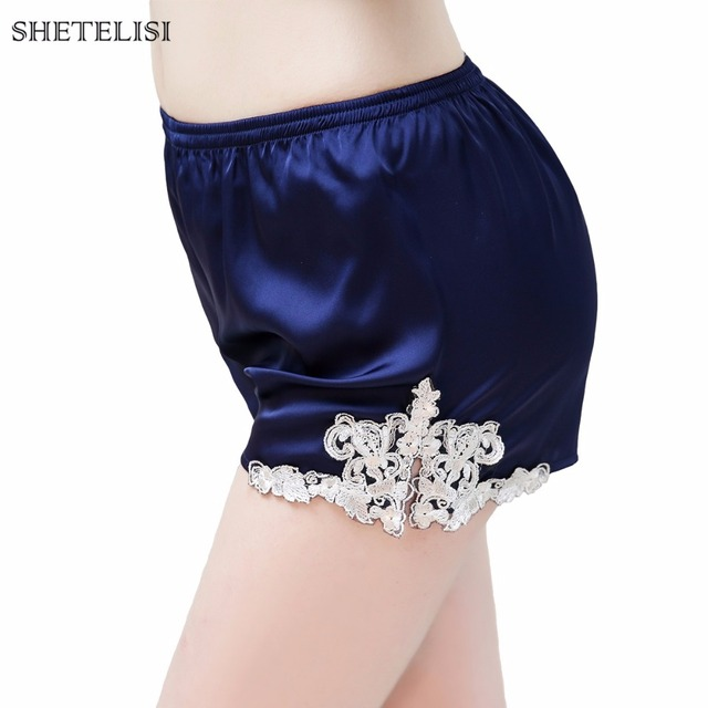 SHETELISI New Solid Color Embroidery Lace Satin Chiffon Women's Pajama Sets Pajamas with Sexy Short Pant sp0054