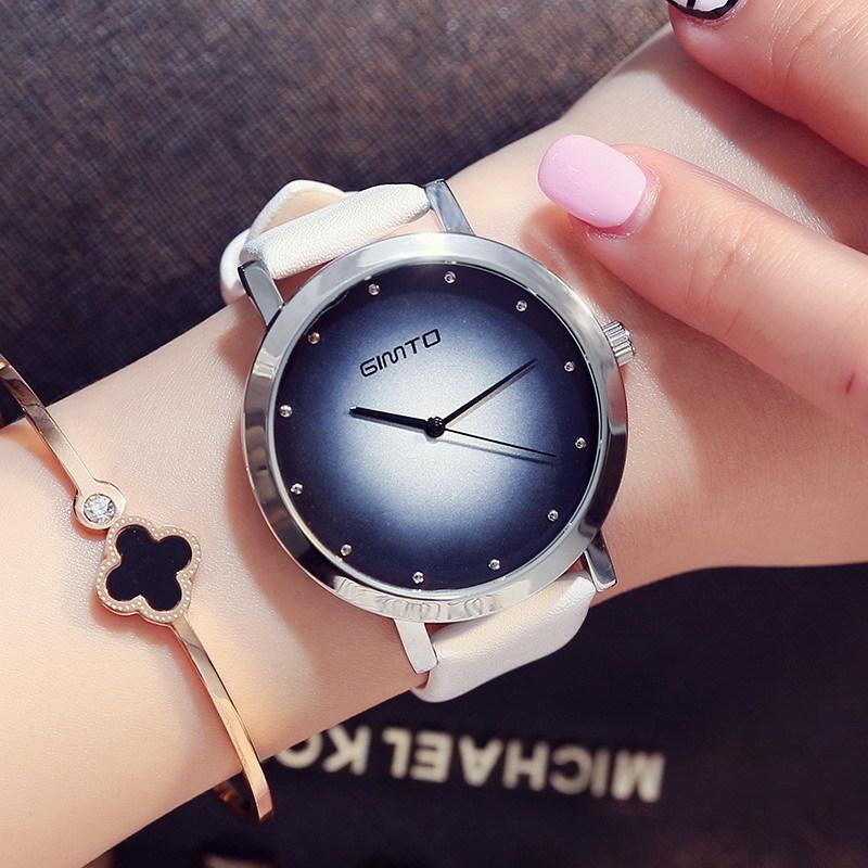 Prix pour Gimto casual coloré robe femmes montres pour filles quartz montre bracelet en cuir montre-bracelet femmes de montre de luxe marque montre femmes