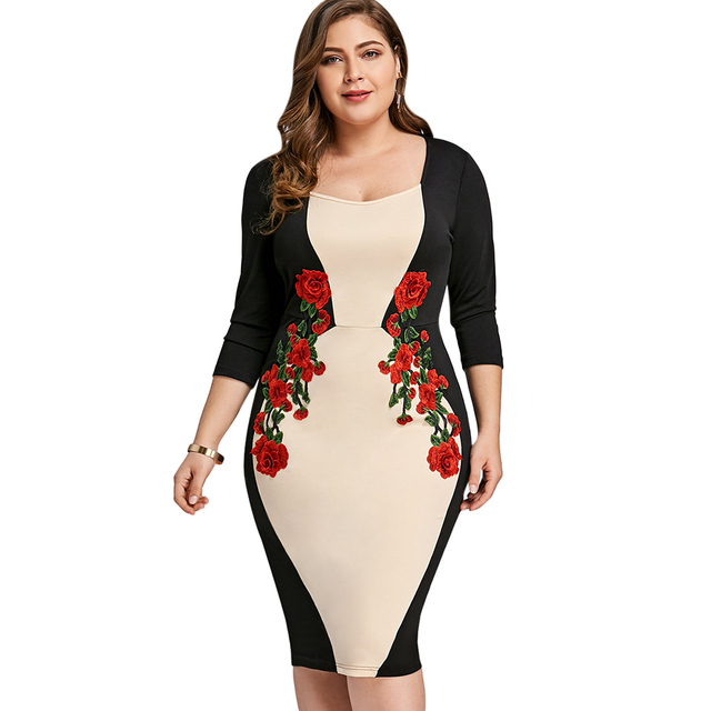 12eb591ed2 Gamiss Bodycon Vestido Plus Size 5XL Bloco de Cor Bordado Trabalho de  Escritório Vestido Roupas Femininas