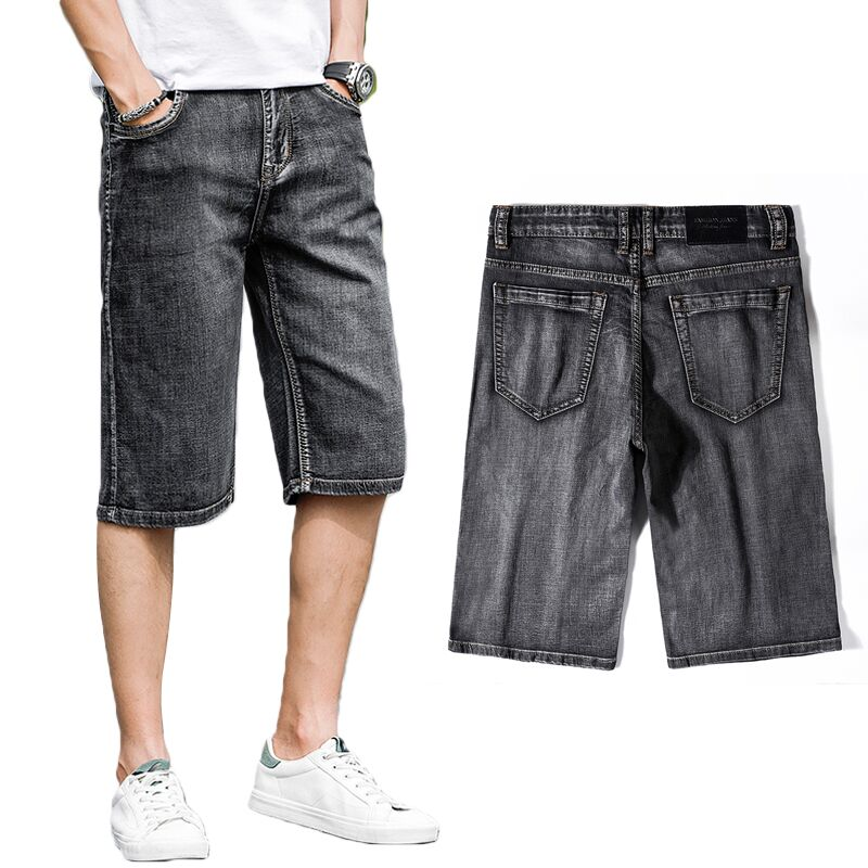 Denim Shorts Jeans Elastic Straight Plus-Size Casual Fashion Summer Brand New Male Gray