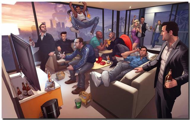 Popular Online Game GTA V / Grand Theft Auto V HD Artistic Fabric Poster Bedroom  Wallpaper