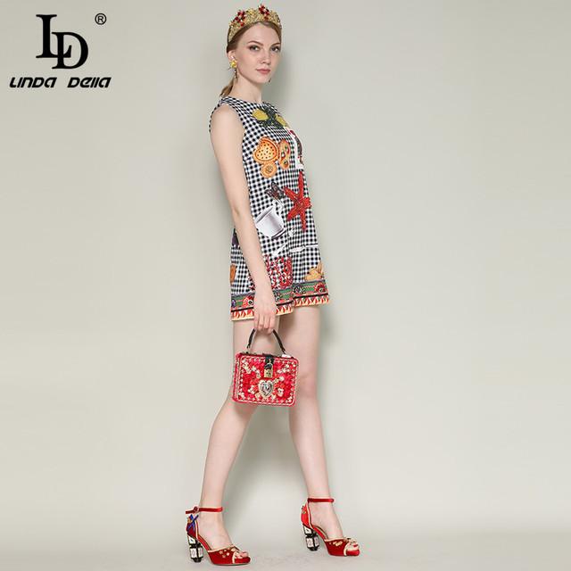 Fashion Runway Summer DressWomen's Sleeveless Luxury Crystal Beading Plaid Printed Vintage Short Dress