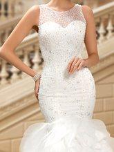 Beaded Jewel Button Mermaid Wedding Dress