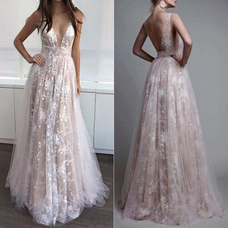 Sexy Long V Neck   Prom     Dresses   for Pageant Women 2019 Tulle Lace Vestido De Festa A-line Floor Length Evening Party Gowns