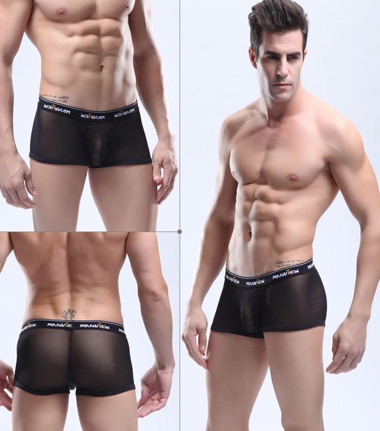 Men s Sexy See through Mesh Underwear Short Silk Boxer Mens Male Man  Lingerie Transparent Trunks Bottom Shorts-in Boxers from Underwear    Sleepwears on ... 72b88cbc9