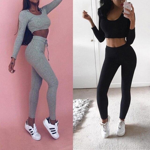 2 piece set women suit outfit two piece set crop top legging sweatpants set crop hoodie set female sweatshirt pants tracksuit 1