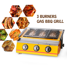 Yellow 3 Burners BBQ Grills LPG Gas Griddle Barbecue Tools For Outdoor , infrared gas burner churrasqueira цена в Москве и Питере