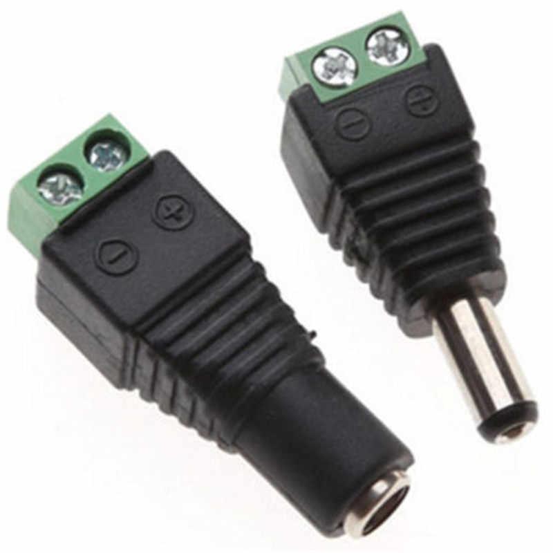 5.5mm x 2.1mm femelle mâle adaptateur de prise d'alimentation cc pour 5050 3528 5060 LED couleur simple bande et caméras de vidéosurveillance