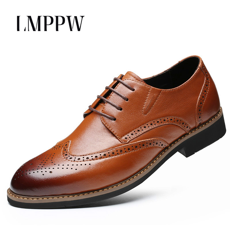 Luxury Brand Men Shoes Genuine Leather Oxford Shoes Fashion Brogue Men Shoes Black Brown Vintage Design Party Wedding Shoes 2A 2017 fashion italian luxury dress mens shoes genuine leather black brown design flats for men business ol shoes brand oxford
