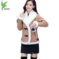 New Autumn Winter Women Short Style Flocking Cotton Jacket Coats lambswool Thick Warm Parkas Fashion Slim Outerwear OKXGNZ A1277