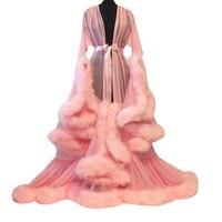 Womens Chiffon Sexy Lingerie New Luxury Hairy Nightgown Flare Sleeve Women Long Nightdress Sleepwear Night Gown