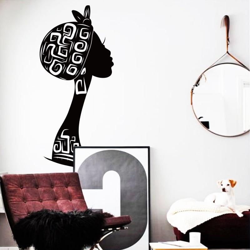 new design cheap home decoration vinyl art africa woman wall sticker