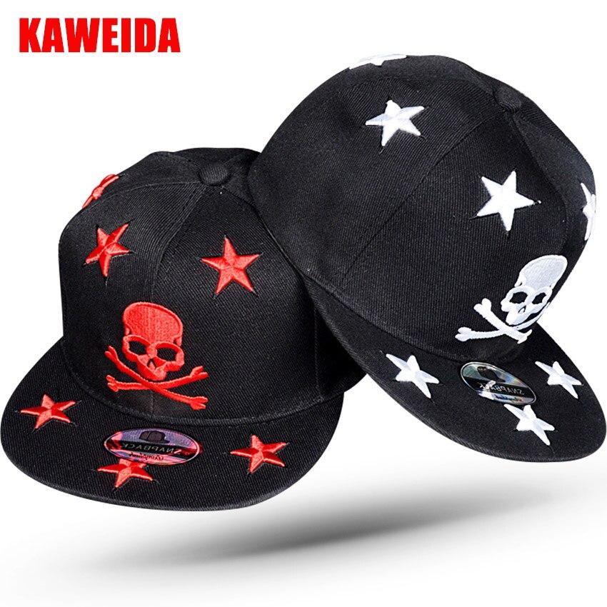 4dae9b859a140 2017 Skull Head Star Cool Punk Snapback Men s Hats Brand Baseball Caps Bone  Beisebol Flat Hats