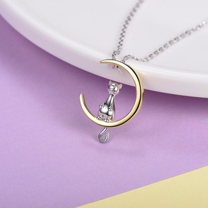 Image 3 - U7 100% 925 Sterling Silver Cat/Kitten Sit on Moon Pendant & Chain Valentines Day Gift For Women Animal Jewelry Necklace SC37