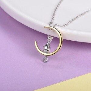 Image 3 - U7 100% Plata de Ley 925 gato/gatito sentado en la Luna colgante y cadena regalo del Día de San Valentín para mujeres Animal joyería collar SC37