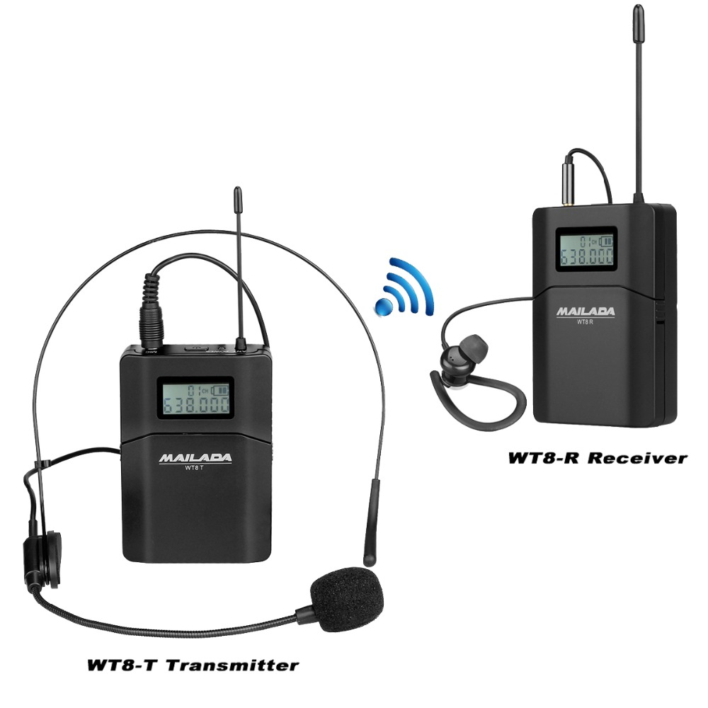MAILADA WT8 Tour Guide System 1 Microphone + 1 Transmitter + 1 Receiver for Teaching Travel Simultaneous Interpretation F1434 niorfnio portable 0 6w fm transmitter mp3 broadcast radio transmitter for car meeting tour guide y4409b
