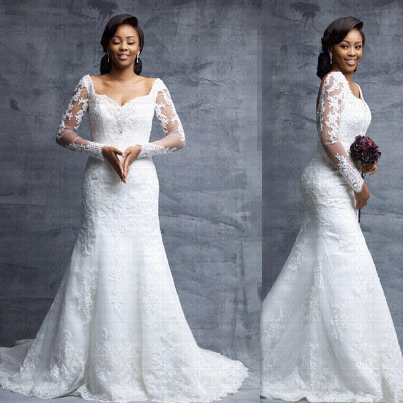 2019 Amazing Square Collar Mermaid Wedding Dress Long Sleeves Lace Vestido De Noiva Backless Bridal Gowns Wedding Gown