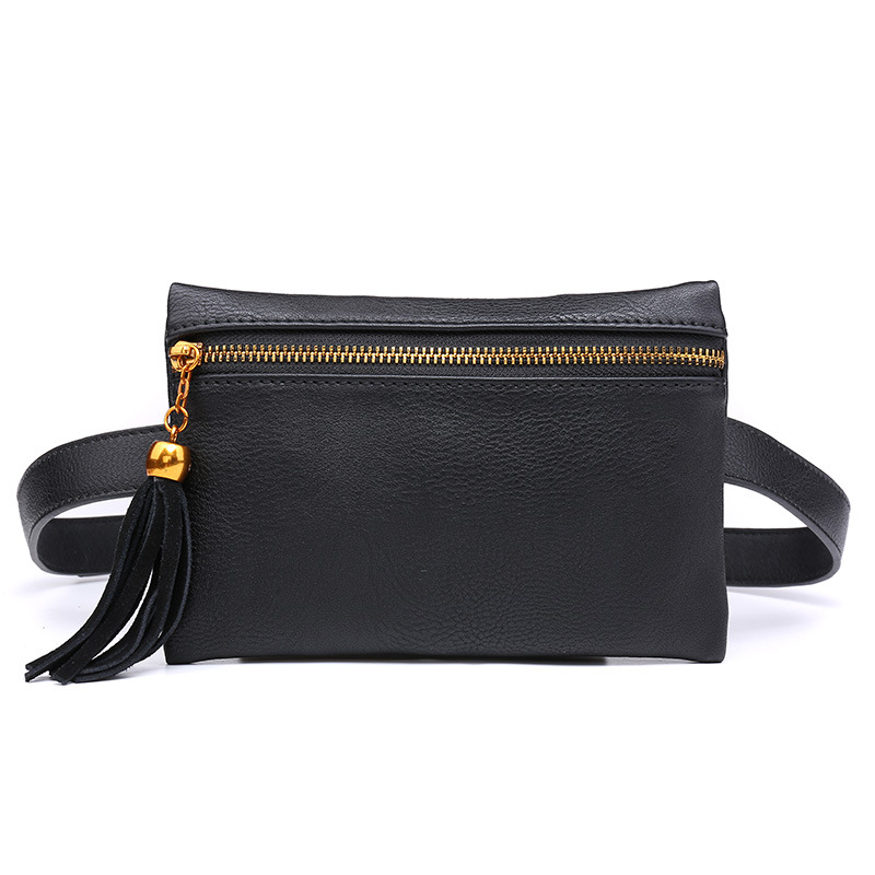 Black Women's Waist Bags Tassel Pu Leather Small Fanny Packs Zipper Slim Crossbody Ladies Travel Packing Phone Money Chest Bag