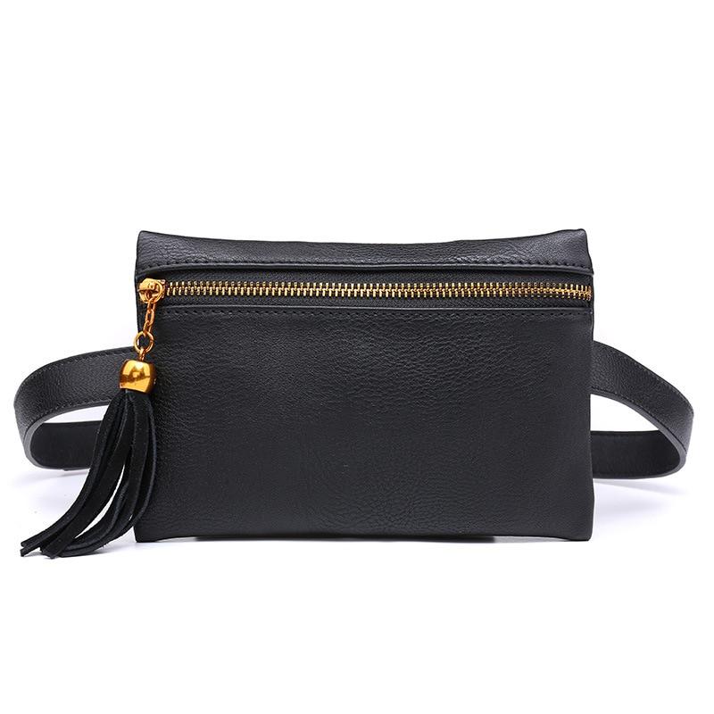 Black Women's Waist Bags Tassel Pu Leather Small Fanny Packs Zipper Slim Crossbody Ladies Travel Packing Phone Money Chest Bag