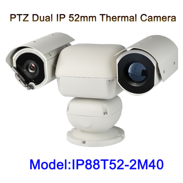 Detection 5km long range dual sensor PTZ  hot spots intelligent alarm ip thermal camera with 40x auto zoom visible camera module